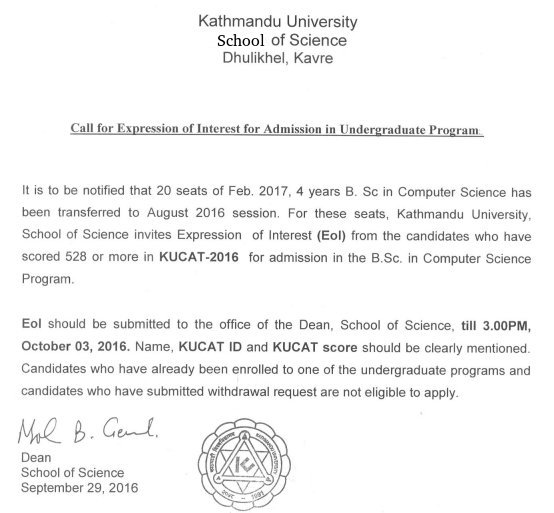 Kathmandu university news call for expression of interest for call for expression of interest for admission in undergraduate program 2016 cs school of science thecheapjerseys Gallery